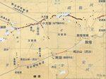アメリカ航空地形図を下地にした中国古代史論文「疏勒河漢代亭障線の復原」の遺跡地図の敦煌付近