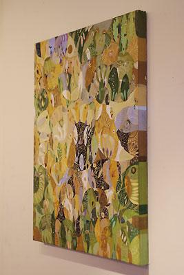西垣聡個展「ヒトコト〜存在と色と形〜」の会場「belle gallery」に飾られた、個展案内状彩色面に使われた作品