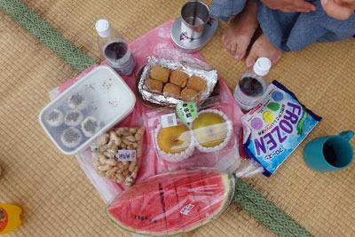 滋賀県琵琶湖西岸の近江舞子の浜のゴザ上に置かれた、湖会参加者持ち寄りのスイカや梨・お菓子・おにぎり等々