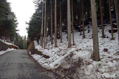 山中に多くの残雪ある、京都市街北部・北山山中の前ヶ畑峠