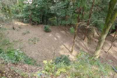 京都八幡の男山山上にある石清水八幡宮裏参道を下る途中に見た、郭的な森なかの大きな平坦地