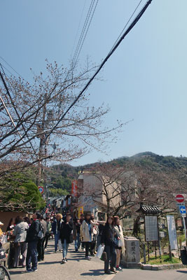 大文字山の麓、銀閣寺参道の賑わいと背後に聳える大文字山
