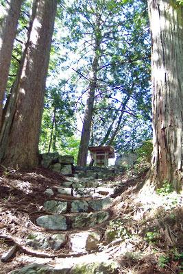 山会「京都北山廃村八丁行,尾根上に見えた八丁神社の祠」
