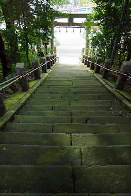福井足羽山名産の「笏谷石(しゃくだにいし)」がふんだんに使われる、旧松岡城御蔵所跡傍の山腹にある「柴神社」の参道階段