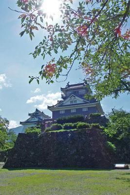 福井県東部の内陸都市・大野の小山上に聳える大野城復元天守閣