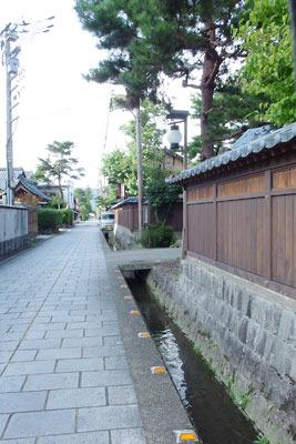 石畳風舗装が施された通り沿いに規模の大きな寺院が並ぶ、福井県東部・旧大野城下の寺町地区