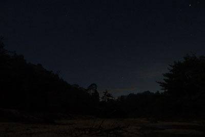 山会「野営会,キャンプ,焚火,キャンプファイヤー,飯盒炊爨,晴れてきた西の夜空」