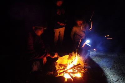 山会「野営会,キャンプ,焚火,キャンプファイア,飯盒炊爨,小炉でのキャンプファイア」