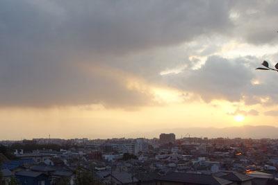 冬の京都盆地の夕景