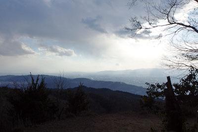 京都・大文字山山頂よりみた西南方面の眺め