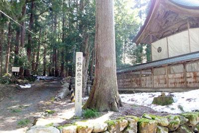 日野神社本殿横から続く日野山登山道と登山口の石碑