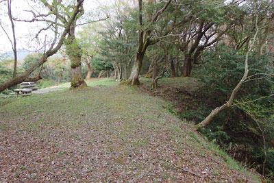 京都府北部舞鶴の葦谷砲台下部の砲座と待避所前方の土手上に広がる海の見える平坦地