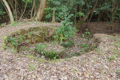 京都府北部舞鶴の葦谷砲台の上部砲座跡