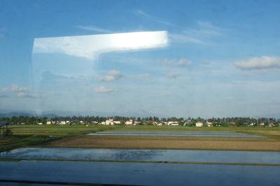 JR湖西線の特急車内よりみた滋賀県近江今津辺りの水田景