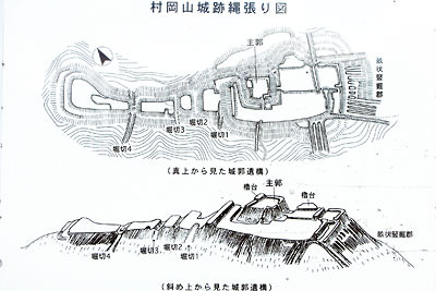 福井県内陸部・勝山郊外にある村岡山城跡の縄張図