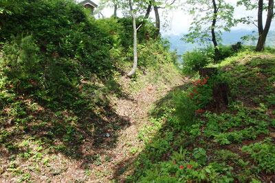 福井県内陸部・勝山郊外にある村岡山城址の主郭と広場の間にある堀跡