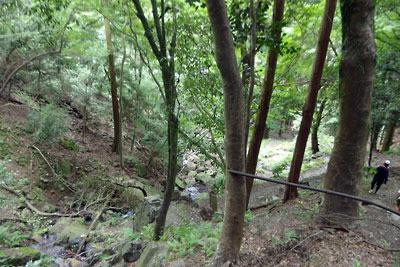 台風21号罹災後の「楼門滝」直下の状況