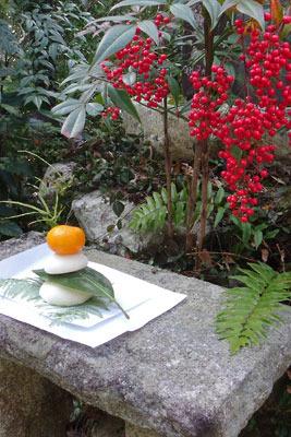 京都市街東部・北山科にある双林院(山科聖天)境内の鏡餅と南天の実