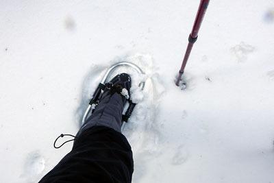 京都市街北部の山上集落「芹生」北の三ノ谷で冬靴に装着したワカン