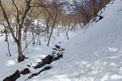 京都市街北部の芹生集落北にある、雲取山山頂と三ノ谷を結ぶ支流谷の道なき雪上ルート