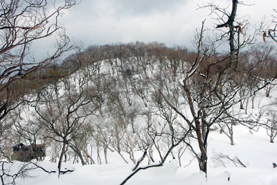 京都・雲取山北峰と後峰の鞍部から見た、後峰と京都府立大学山岳部の山小屋
