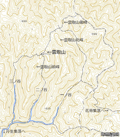 1/25000地形図での京都・雲取山付近
