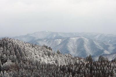 京都市街北部にある雲取北峰山頂からみた皆子山