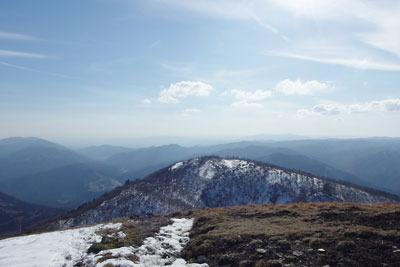 滋賀県比良山脈南部の権現山から見た大原盆地や京盆地方面