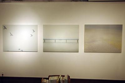 京都市街東部のホホホ座浄土寺店のギャラリーで開かれた、サカネユキ写真展「そのほとりのけしき」の大型作品3点