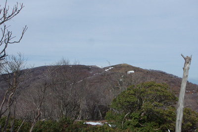 滋賀県比良山脈南部の権現山から見たホッケ山と蓬莱山