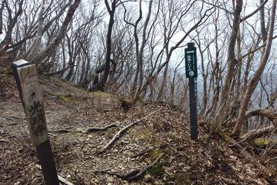 滋賀県西北・赤岩山道と高島トレイルとの合流部