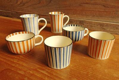 懇意の清水焼窯元手作りの各種麦藁手(むぎわらで)陶器(蕎麦猪口・スープカップ・マグカップの青赤各一対)