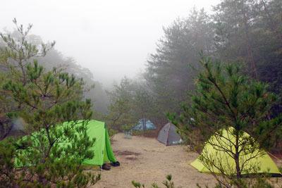 滋賀県・湖南アルプス太神山中の野営2日目朝に意外の雨に降られて濡れそぼる山とテント