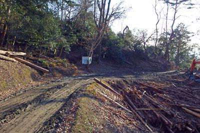 山上の林道と貯木場により消失した、戦国期の竪堀または古代・中世の古道跡(中央付近)