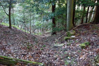 切り口を成して謎の平坦地を西へ下る大文字・安祥寺山間の古道