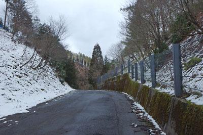 左右の斜面にしか雪がない冬の芹生峠