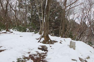 2月初めながら雪の少ない京都・雲取山山頂と三角点標石