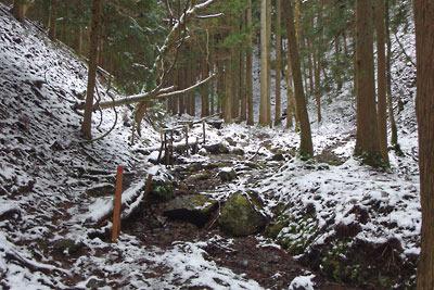 京都・雲取山の一ノ谷から寺山峠へと続く支流谷と、その傍に続く道