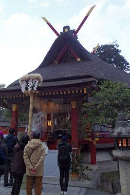 吉田神社大元宮と節分参拝者