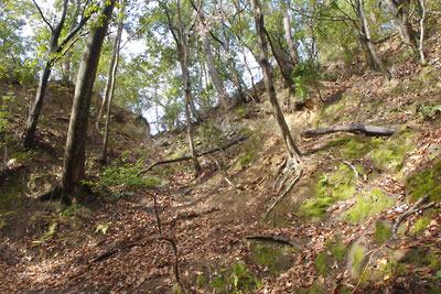 つづらの崖道が続く比叡山・雲母坂の入口部分