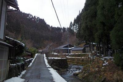 僅か3日で多くの雪が消えた2月半ばの芹生集落