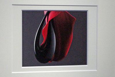 漆芸作品と生花を併せて撮影した写真を額装した白子勝之の作品