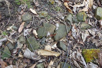 如意寺宝厳院跡付近の地表に散る平安期の瓦や器