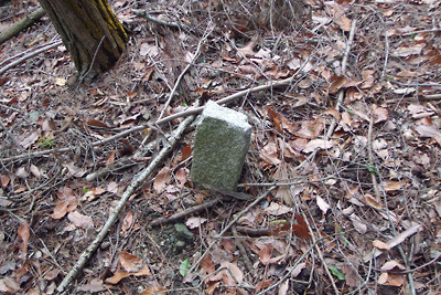 推定如意古道上の谷地に現れた標石らしき石柱