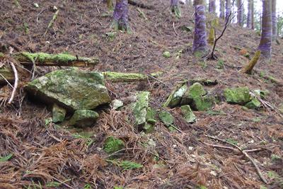 鞍掛隧道滋賀側登山道の途中に現れた炭焼窯廃墟とその石材