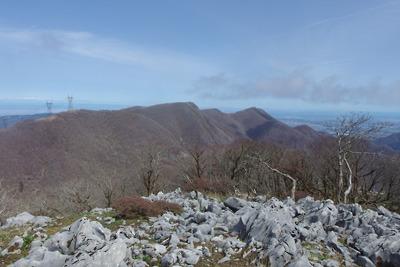 御池岳南端の石灰原と対面に続く、未だ冬枯れした鈴鹿山脈主稜線上の天狗岩や藤原岳