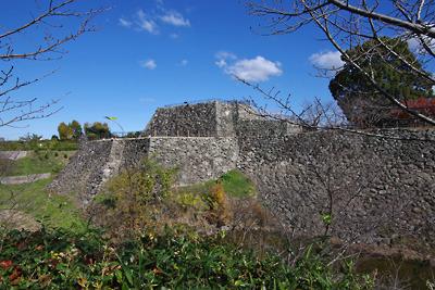 大和郡山城の内堀西南からみた本丸と大小の天守台