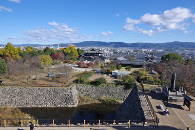 大和郡山城天守台からみた奈良市街や若草山方面