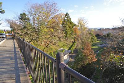 大和郡山城中堀西の西御門前の土橋から中堀底の公園等をみる