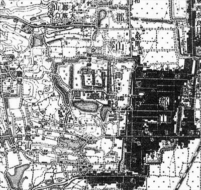 明治41年測同45年刊『二万分一地形図「郡山」』の旧郡山城及び総構部分